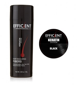 EFFICIENT Keratin Hair Building Fibers, Hair Loss Concealer Net Wt. 28gm / 0.98 oz (Black)