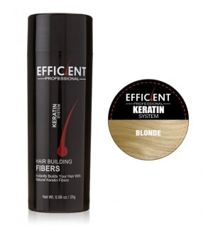 EFFICIENT Keratin Hair Building Fibers, Hair Loss Concealer Net Wt. 28gm / 0.98 oz (Blonde)