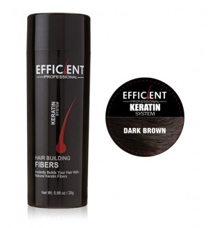 EFFICIENT Keratin Hair Building Fibers, Hair Loss Concealer Net Wt. 28gm / 0.98 oz (Dark Brown)