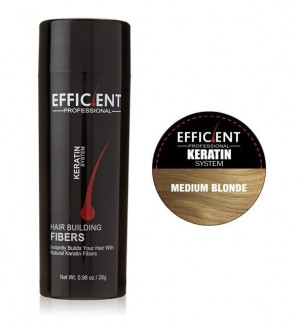 EFFICIENT Keratin Hair Building Fibers, Hair Loss Concealer Net Wt. 28gm / 0.98 oz (Medium Blonde)