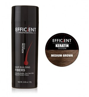 EFFICIENT Keratin Hair Building Fibers, Hair Loss Concealer Net Wt. 28gm / 0.98 oz (Medium Brown)