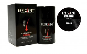 EFFICIENT Keratin Hair Building Fibers, Hair Loss Concealer Net Wt. 12gm / 0.42 oz (Black)