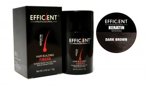 EFFICIENT Keratin Hair Building Fibers, Hair Loss Concealer Net Wt. 12gm / 0.42 oz (Dark Brown)