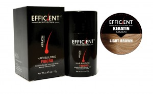 EFFICIENT Keratin Hair Building Fibers, Hair Loss Concealer Net Wt. 12gm / 0.42 oz (Light Brown)