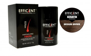 EFFICIENT Keratin Hair Building Fibers, Hair Loss Concealer Net Wt. 12gm / 0.42 oz (Medium Brown)